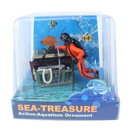 Amazon.com: Belegend Fish Tank Ornament Aquarium Landscape Hunter Treasure Decoration Creative Accessories (Orange): Office Products