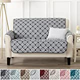 Modern Printed Reversible Stain Resistant Furniture Protector with Geometric Design. Perfect Cover for Pets and Kids. Adjustable Elastic Straps Included. Liliana Collection (Loveseat, Steel Grey)