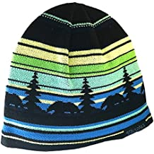 Alaska Beanie Hat Skull Rustic Bear Stripe Knit Stocking Hat