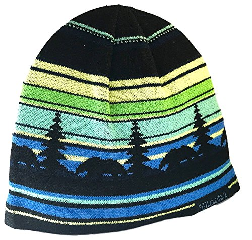 Alaska Beanie Hat Skull Rustic Bear Stripe Knit Stocking (Beanie Hat Patterns)