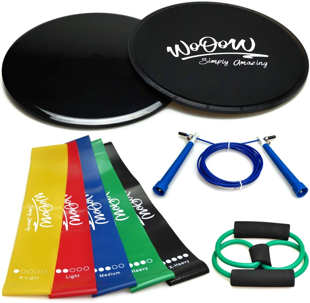 "Workout Equipment For Women Men: 2x Dual Sided Gliding Discs & 5x Loop Resistance Bands & Jump Rope & ""8shape"" Band 