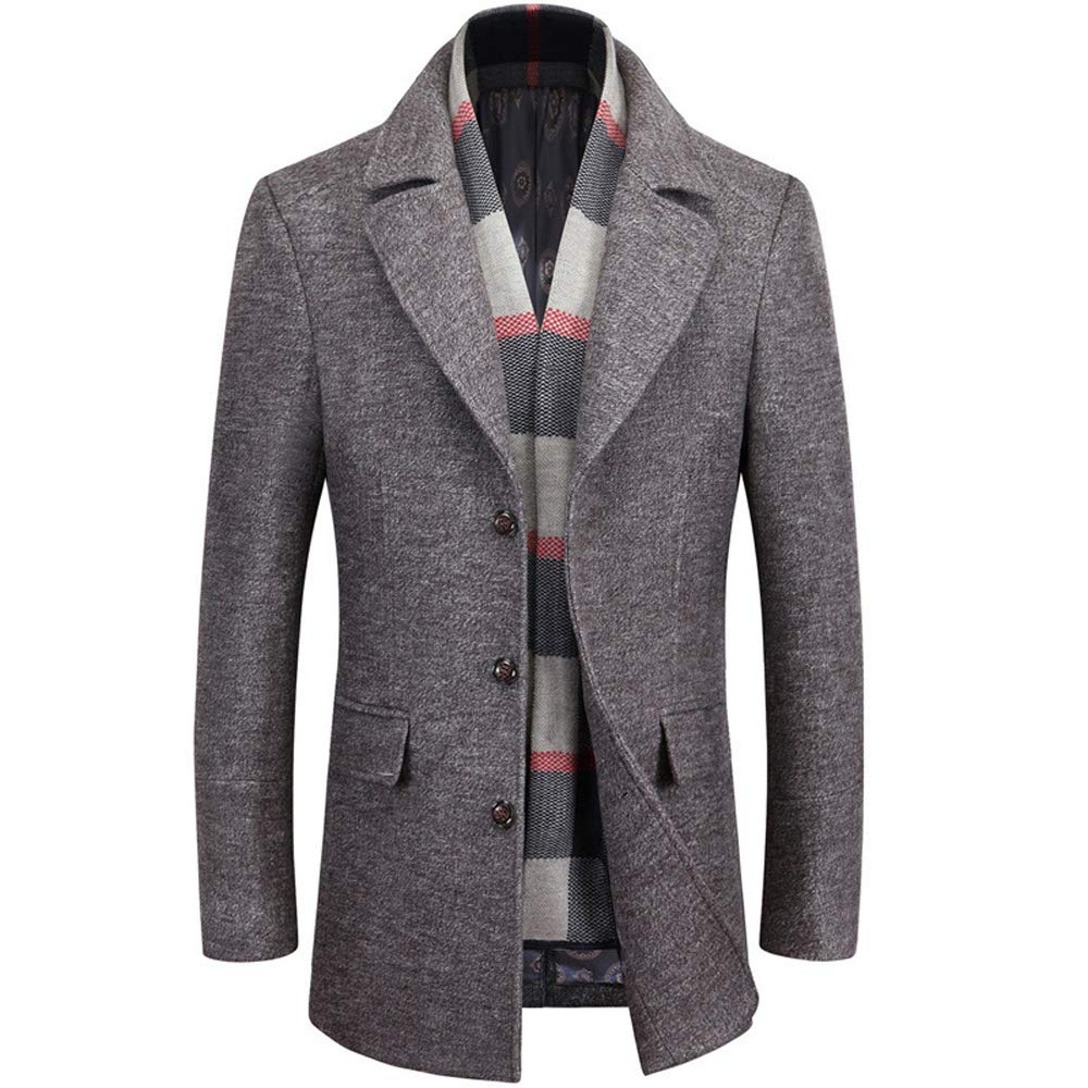 WULFUL Men's Wool Blend Winter Trench Coat Slim Fit Pea Coat Free Removable Plaid Scarf
