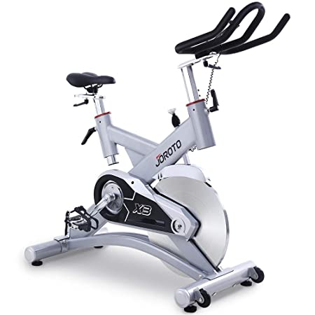 JOROTO Exercise Bike Indoor Cycling – Belt Drive 300 lb Weight Capacity Pro Workout Bicycle Stationary Bikes Machine for Home Gym X3 Silver