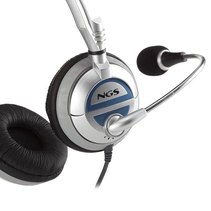 NGS MSX6 PRO - Auriculares de diadema abiertos (con micrófono), plateado