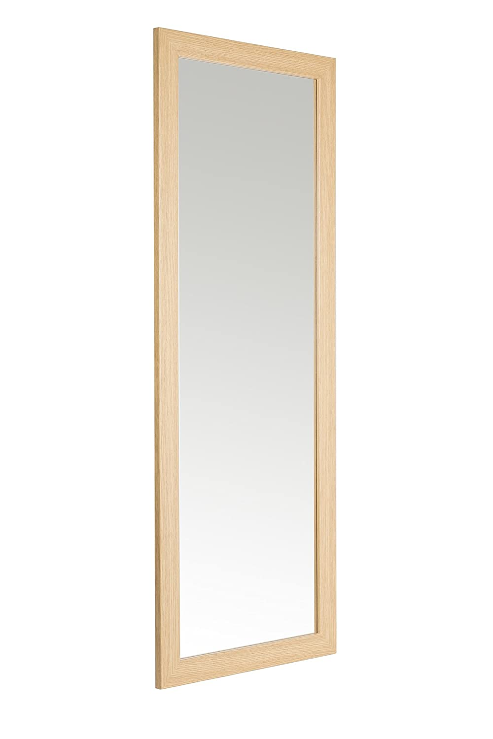 38 x 99cm Oak Effect Framed Mirror with Wall Hanging Fixings