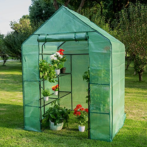 Sundale Outdoor Portable Gardening Large 2 Tier 8 Shelf Steeple Green House and PE Cover, Waterproof Walk in Plant Green House, 56.5
