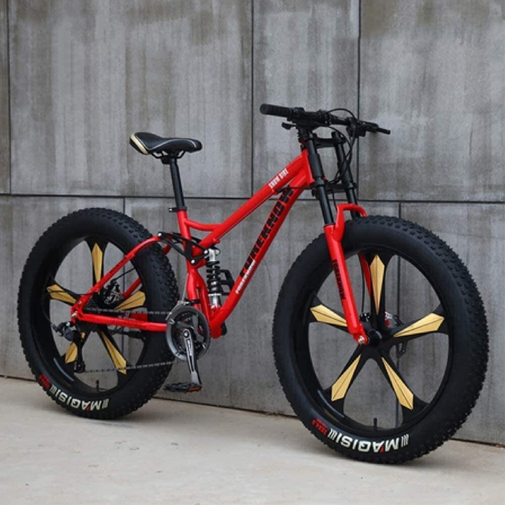 Mountain Bikes, 26 Inch Fat Tire Hardtail Mountain Bike, Dual Suspension Frame and Suspension Fork All Terrain Mountain Bike