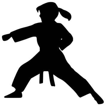 Karate bowing silhouette