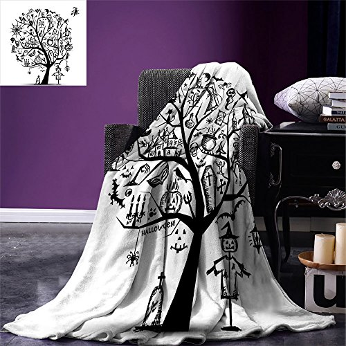 smallbeefly Halloween Digital Printing Blanket Sketchy Spooky Tree with Spooky Design Objects and Wicked Witch Broom Abstract Summer Quilt Comforter Black White -