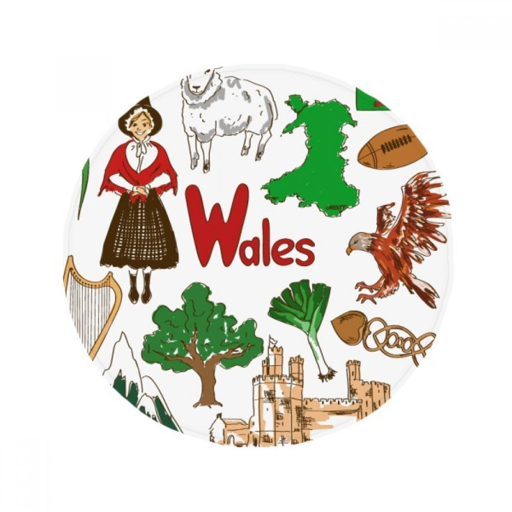 60X60cm DIYthinker Wales Landscap UK National Flag Anti-Slip Floor Pet Mat Round Bathroom Living Room Kitchen Door 60 50Cm Gift
