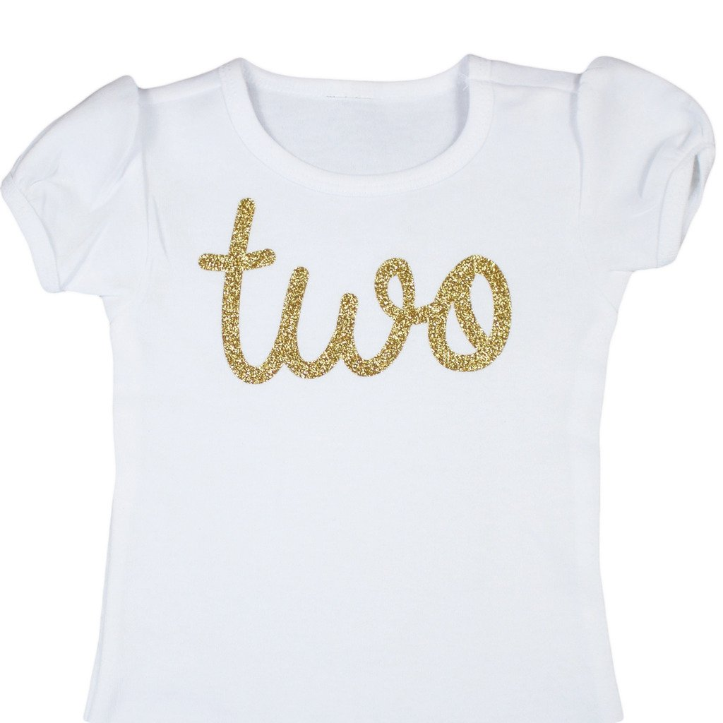 Gold Two Girls 2nd Birthday Shirt, Gold, 2T