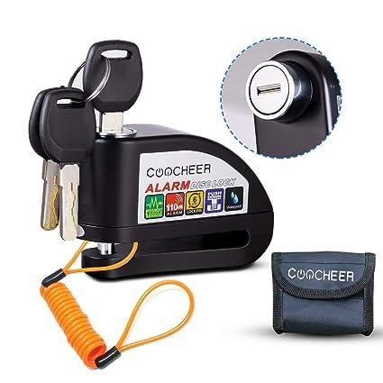 Pujuas Candado Disco Moto, Bloqueo para Moto con Alarma De Acero Inoxidable Antirrobo De Seguridad con Sonido De Alarma 110db En Diseño Resistente Al ...