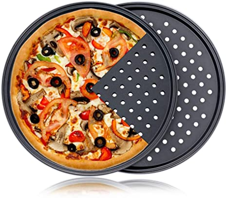 Nonstick Pizza Pan With Holes Steel Round Crispy Crust Oven Tray Perforated*