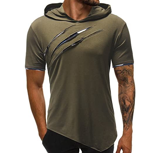 0551c025c89 WYTong Men s Solid Color Lightweight Hoodie Tee Shirt Hole Short Sleeve  Sports Gym T Shirt Tops