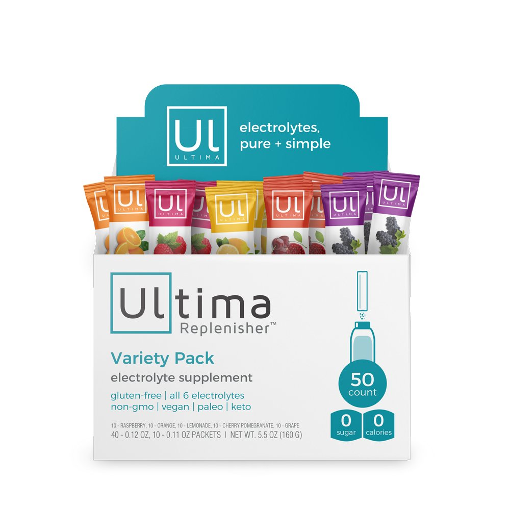 Ultima Replenisher Electrolyte Hydration Powder, Variety Pack, 50 Count Stickpacks - Sugar Free, 0 Calories, 0 Carbs - Gluten-Free, Keto, Non-GMO with Magnesium, Potassium, Calcium