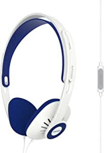 Koss KPH30iW On-Ear Headphones, in-Line Microphone and Touch Remote Control, D-Profile Design, Wired with 3.5mm Plug, White and Blue
