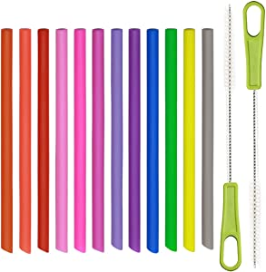 14 Pcs Kids Reusable Silicone Straws, Extra Short Thin Skinny for Toddlers & Children, BPA Free, Including 2 Cleaning Brushes