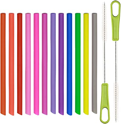 Skinny Reusable Silicone Straws 10-Pack