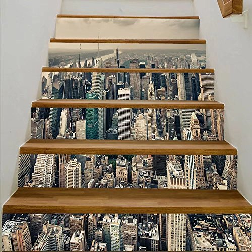 vanfan 3D Creative new york aerial view of bryant park and midtown skyscrapers at summer sunset DIY Refurbished Stairs Stickers Removable Waterproof Stairs Mural(39.3