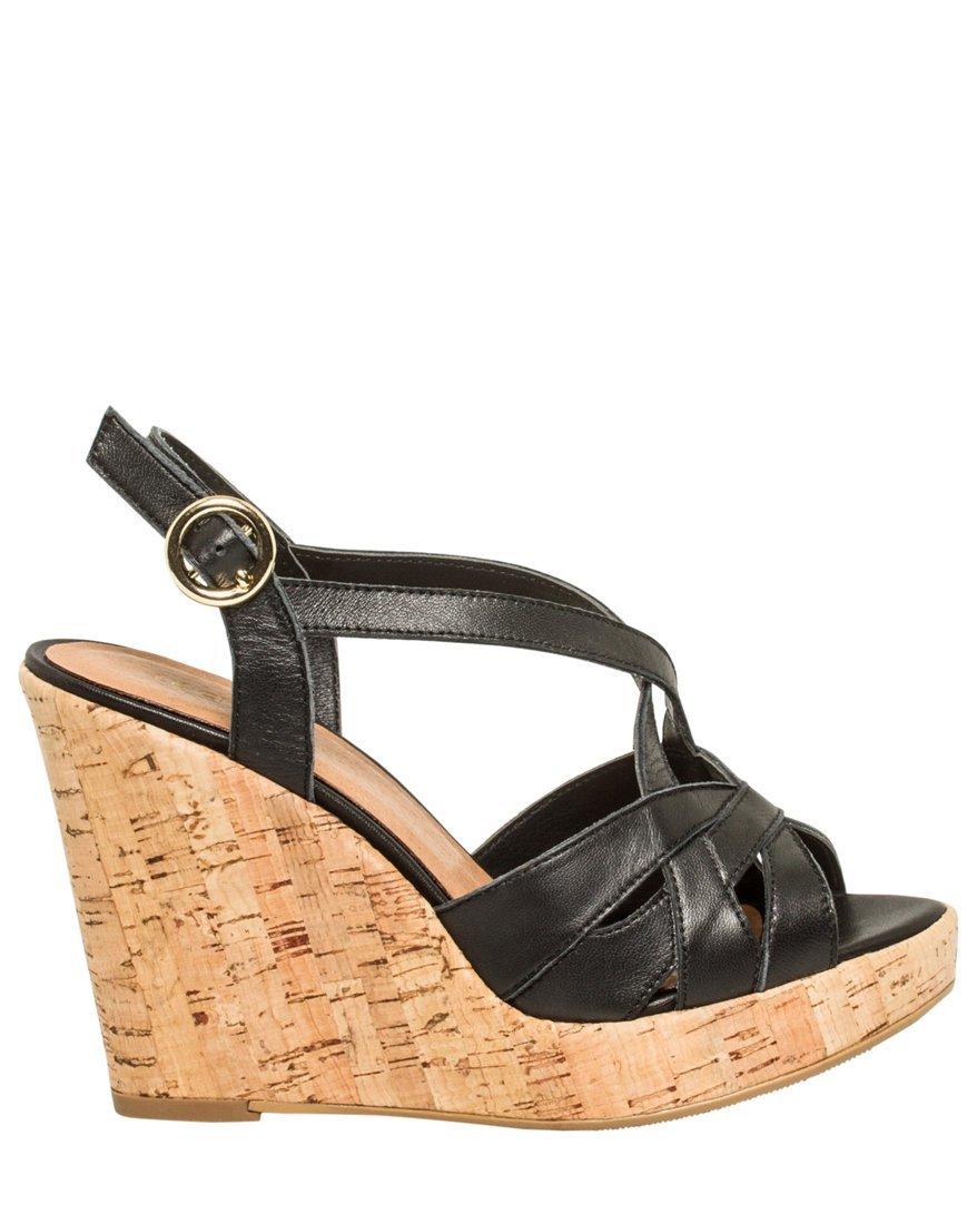LE CHÂTEAU Women's Leather Cork Wedge Sandal,9,Black