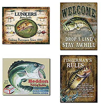 Vintage Decorative Fishing Tin Sign Bundle - Lunker's Lures Bait and Tackle, Welcome Bass Fishing, Heddon Frogs, Fisherman's Rules