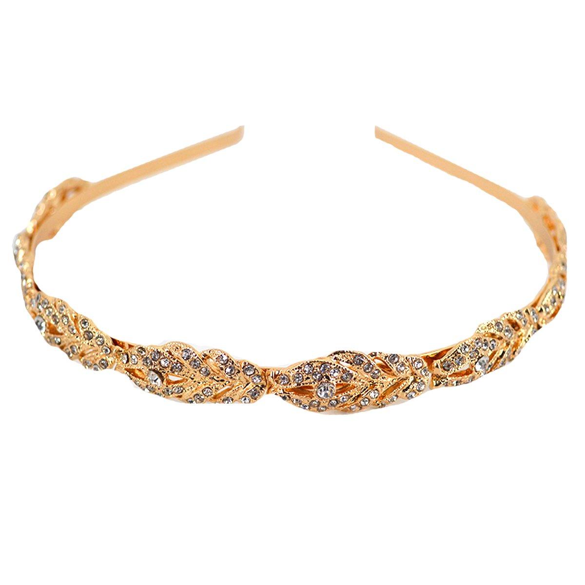 Sherry Headband Bridal Bridesmaid Flower Girl Crystal Hair Band Wedding Tiara Hair Accessories (Gold)