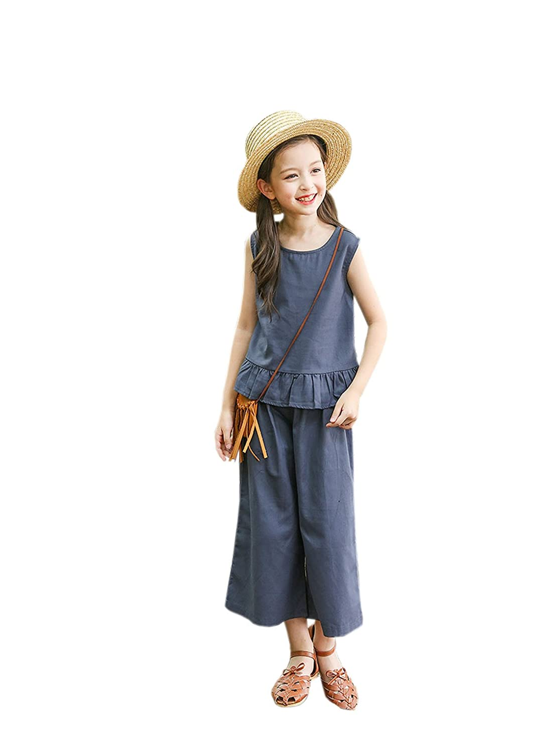 YueLian Little Girls Sleeveless Cotton Tshirt Wide Long Pants Set Summer Solid Outfits