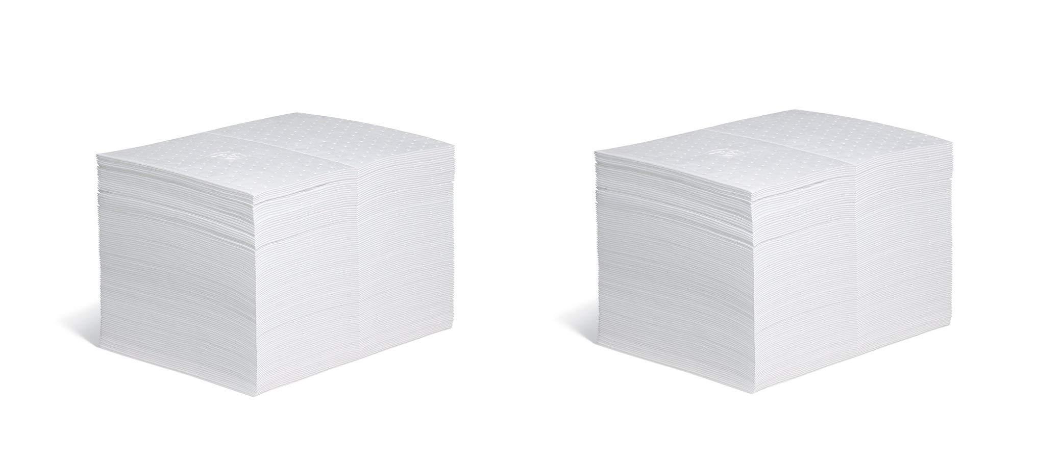 New Pig Oil Mat - 28 Ounce Absorbency - 100 Heavyweight Oil Absorbent Pads - 15'' x 20'' - MAT403 (2 X Pack of 100)