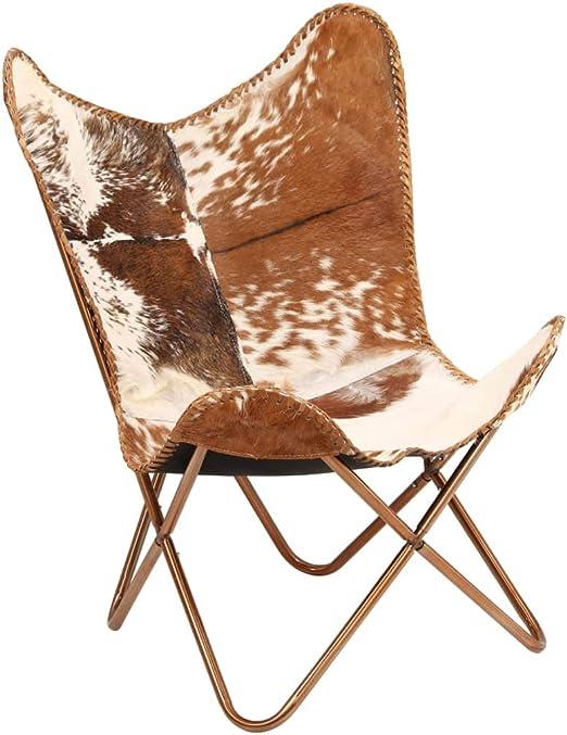 Festnight Butterfly Sessel | Relaxstuhl Echtleder | Echt Leder Stuhl | Vintage Stühle mit Rückenlehne | Retro Lederstuhl | Braun und Weiß Echtes
