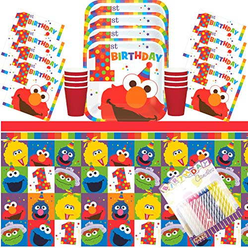 1st Birthday Elmo Party Plates Napkins Cups and Table Cover Serves 16 with Birthday Candles - Elmo Birthday Party Supplies Pack Deluxe (Bundle for -