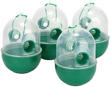 com-four® Trampa de Avispas 4X para Colgar - Trampa para Insectos Hecha de plástico - protección ecológica contra Avispas, Moscas y avispones (04 ...