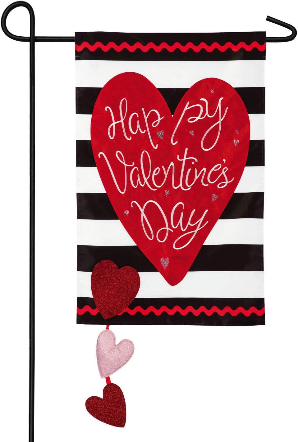 Valentine's Stripe Garden Applique Flag - 13 x 1 x 18 Inches