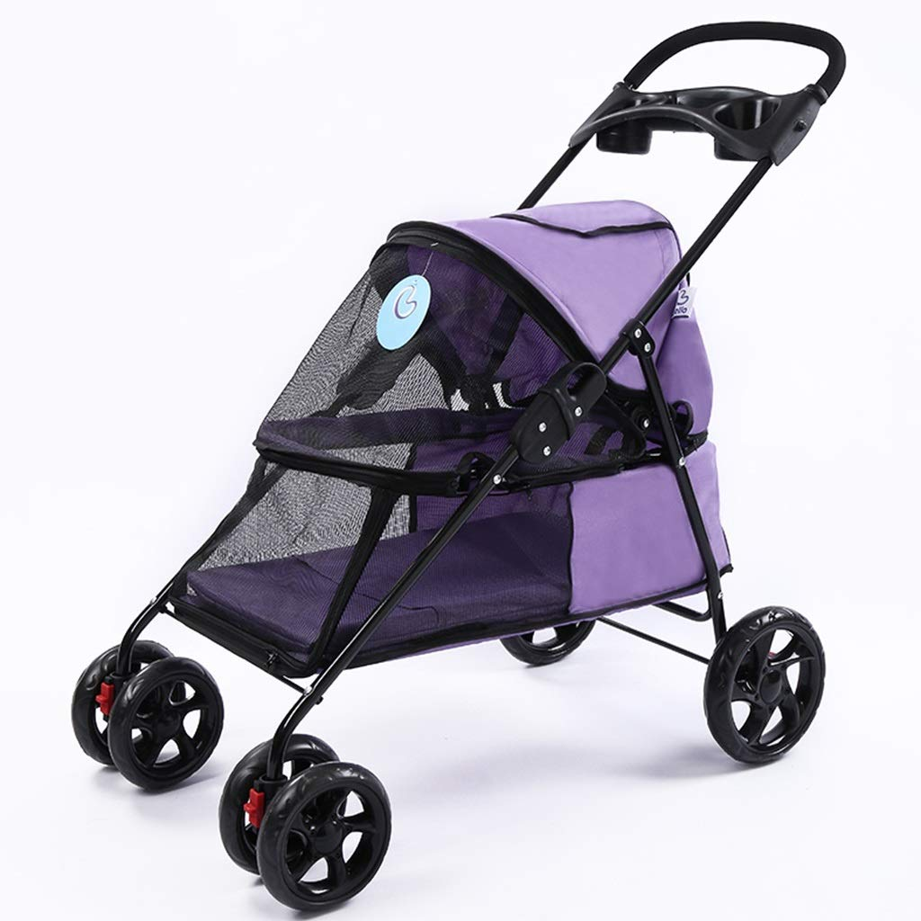 Purple MZP Disabled Dog Pushchair, Easy Foldable 600D Oxford Cloth Maximum Weight 15Kg Multi-functional Netted Breathable Windows Cup Holders Storage Basket 6 EVA Steel Wheels (color   Purple)