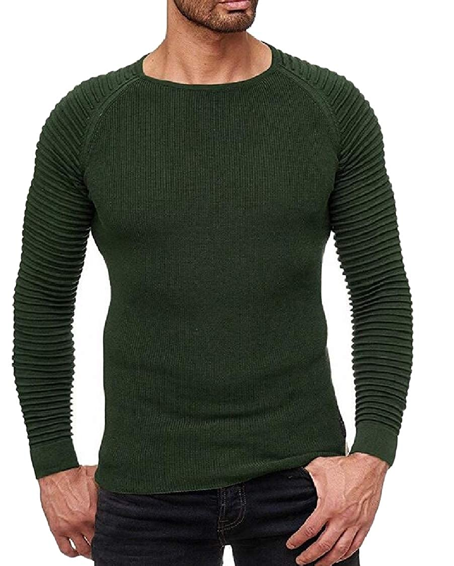 Lutratocro Mens Slim Knits Long Sleeve Pleated Round Neck Pullover Sweaters