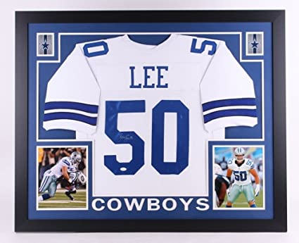separation shoes 21166 a0a50 Sean Lee Signed Cowboys 35x 43 Custom Framed Jersey (JSA ...