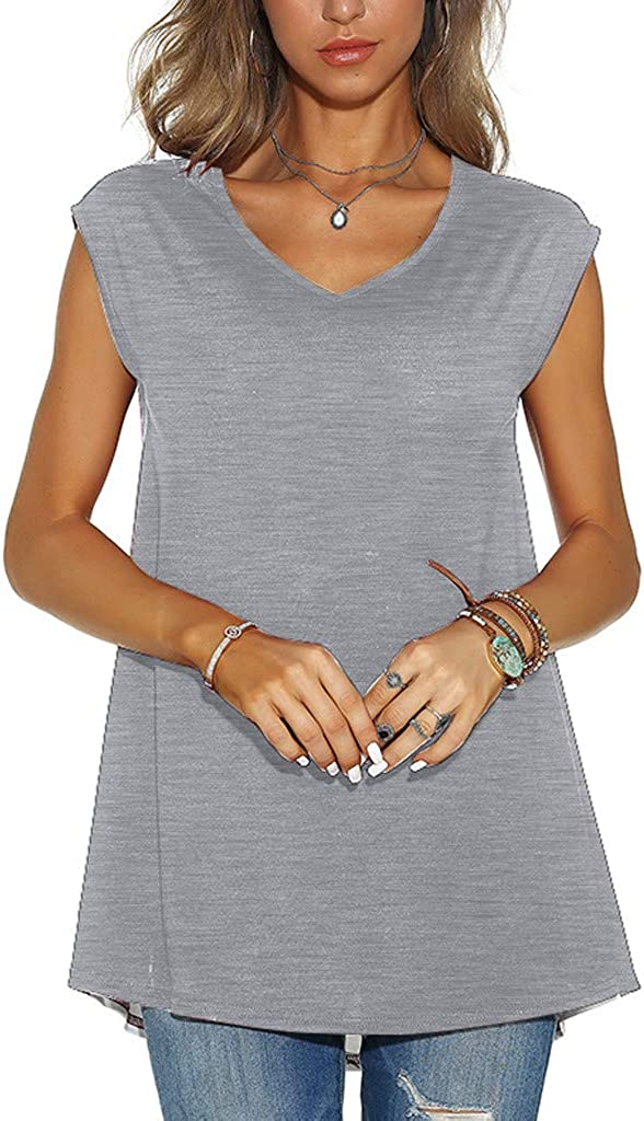Teresamoon Women Casual O Neck Vintage Print T-Shirt Sleeveless Tops Blouse