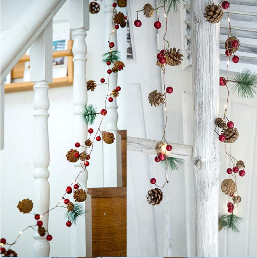 guirnalda con luces 20LED Luz de decoraci/ón de /árbol de Navidad con bater/ía blanca c/álida para fiesta navide/ña SaiXuan Luces navide/ñas con cono de pino Campana de bayas rojas