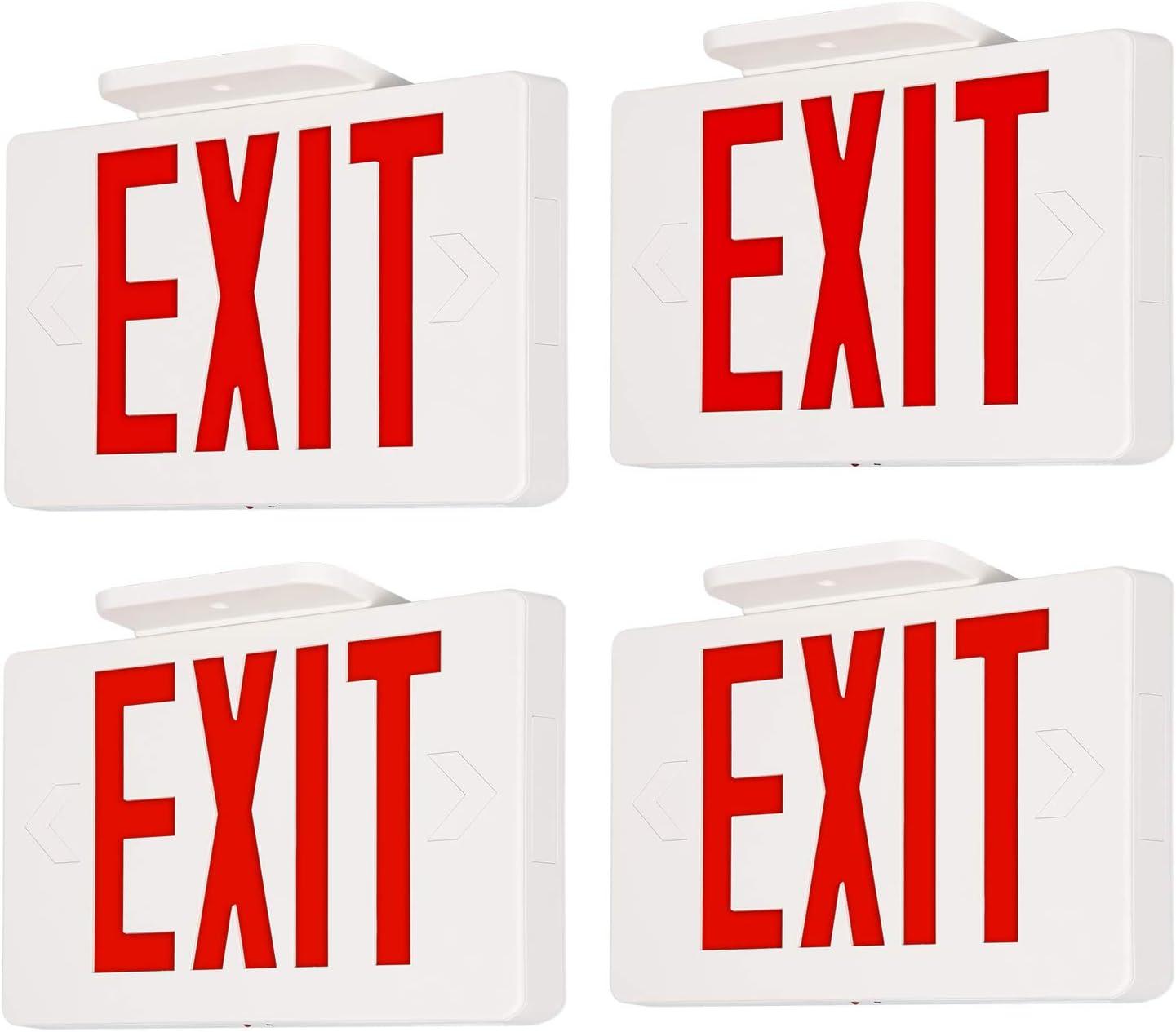 LED Exit Sign, Red Letter Emergency Exit Lights, 120V-277V Universal Mounting Double Face - 4 Pack