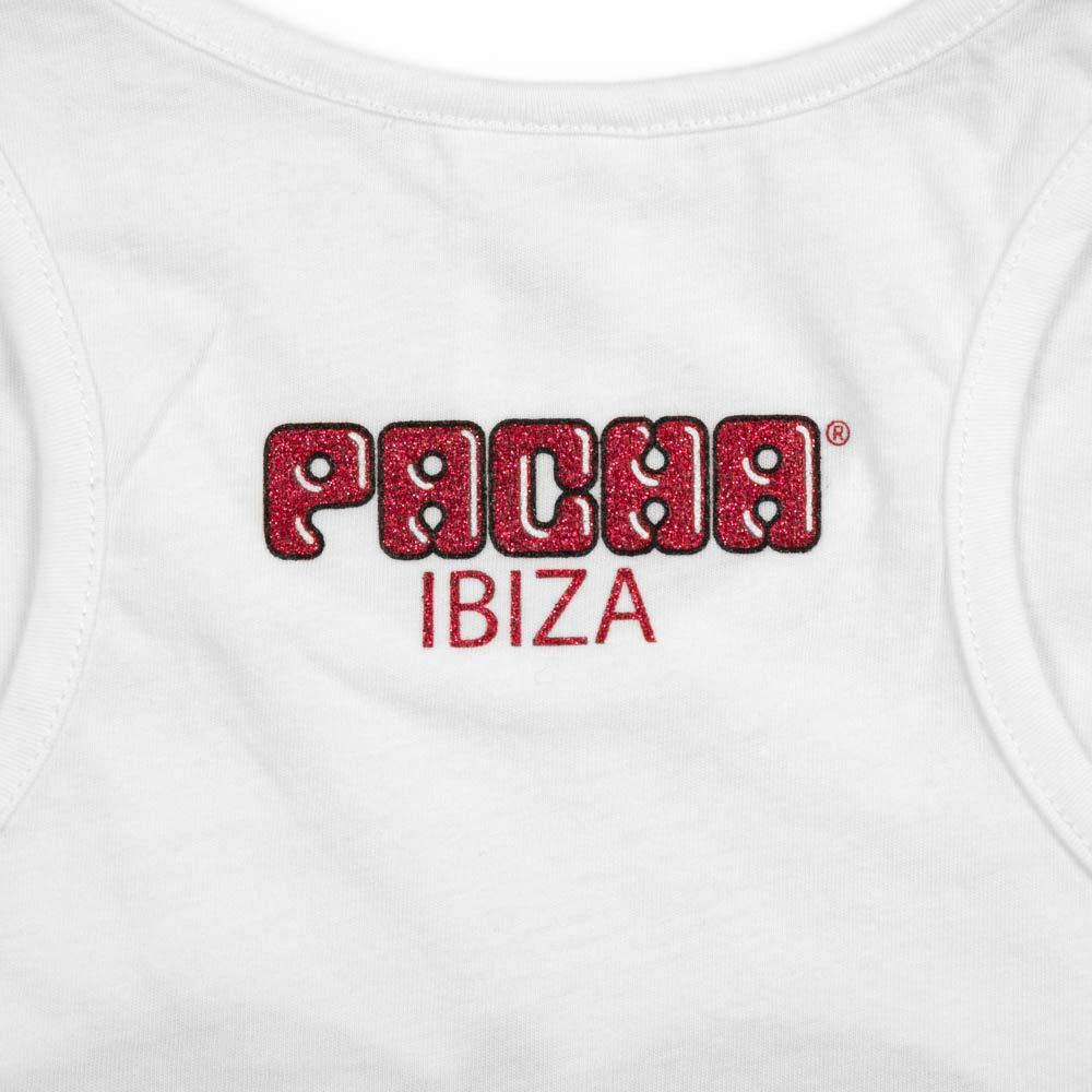 Canottiera con Logo delle Ciliegie Classico Ibiza brillantinato per Bambina PACHA
