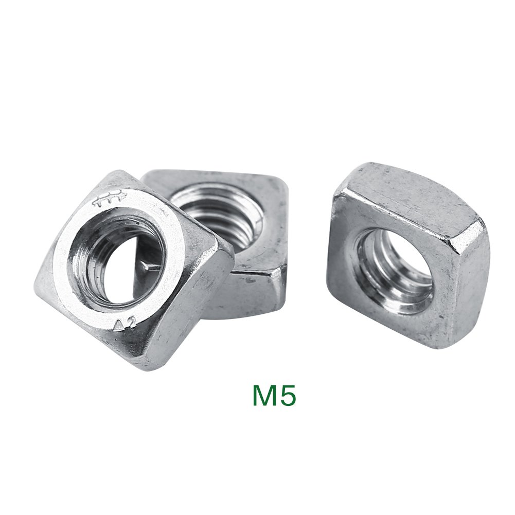 M3-M8 DIN557 SS304 Square Nut Fastener Stainless Steel Metric Thread Set(M5-100Pcs)