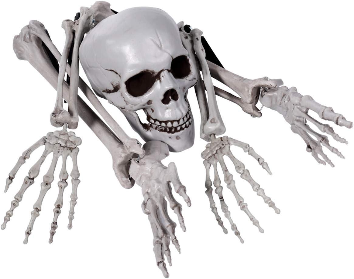 EXCEART Skeleton Bones Skull Plastic Spooky Fake Skeleton for Halloween Decor Props Graveyard Ground Decor Halloween Skeleton with Movable Joints