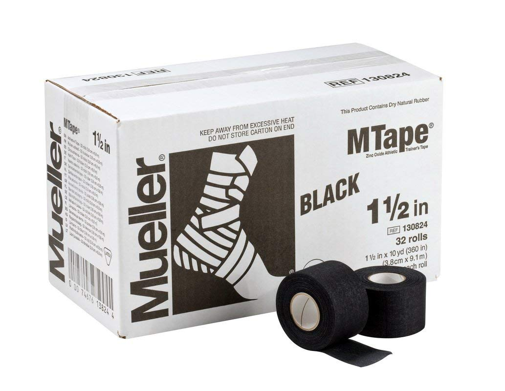 M-Tape Colored Athletic Tape - 1.5 inches x 10 yards - Black, 32 Rolls