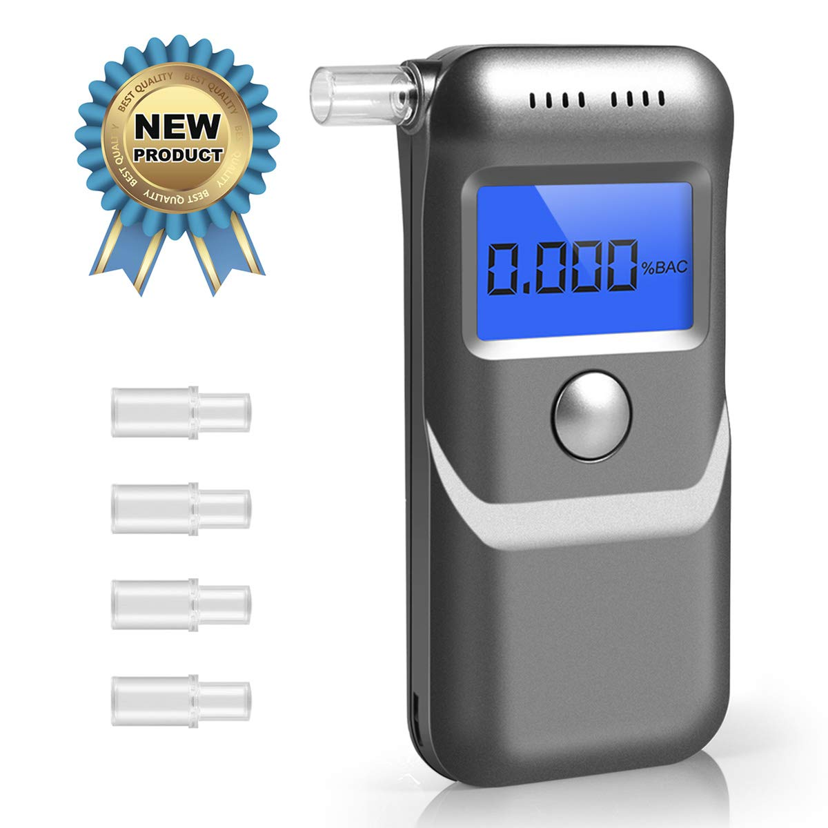 Breathalyzer, Professional Breath Alcohol Tester, Portable Digital Alcohol Detector LCD Screen with 5 Mouthpieces, Auto Power Off and Sound Alarm - Sliver Upgrade