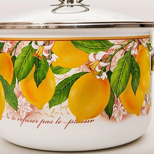 Lemon Vitross Enamelware Pot 5.3-qt. Enameled Steel
