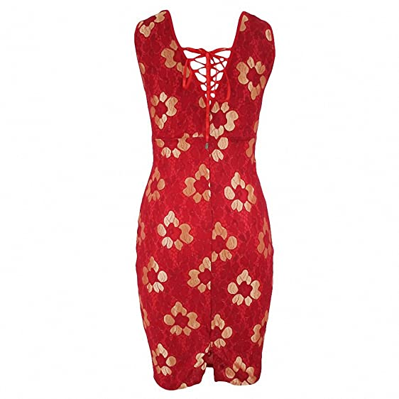 Women Sexy Club Bodycon dress Summer floral lace dress Elegant vintage dress vestidos de festa Red