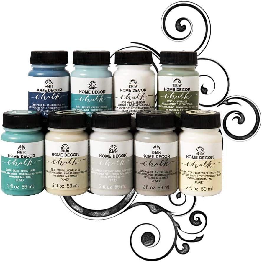 FolkArt Home Décor Chalk Finish Paint Set (2 Ounce), Top Colors (New Version)