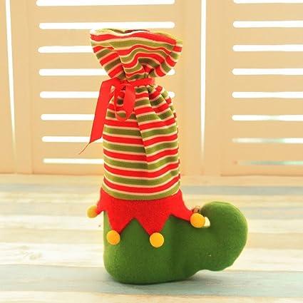Regalos de Navidad Conjunto de Vino de Navidad Pequeñas Campanas Bolsas de Regalo de Panteras Restaurante