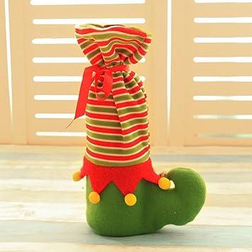 Regalos de Navidad Conjunto de Vino de Navidad Pequeñas Campanas Bolsas de Regalo de Panteras Restaurante Conjunto de Botellas de Vino de Champán Decoradas: ...