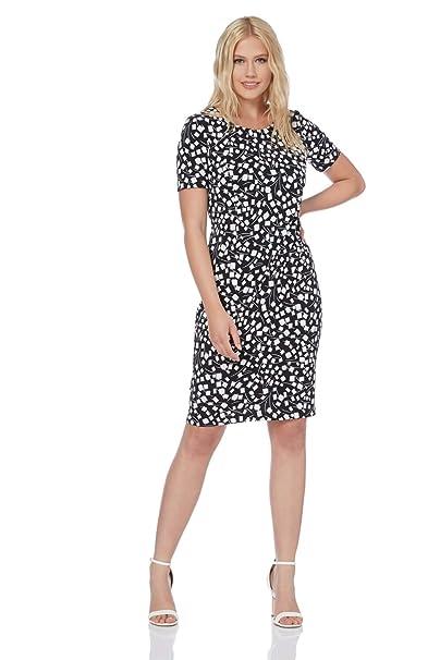 d0360aa456c Roman Originals Women Black Short Sleeve Printed Dress - Ladies Knee Length  Jersey Shift Summer Autumn Print Workwear Office Smart Dresses Work Clothing   ...