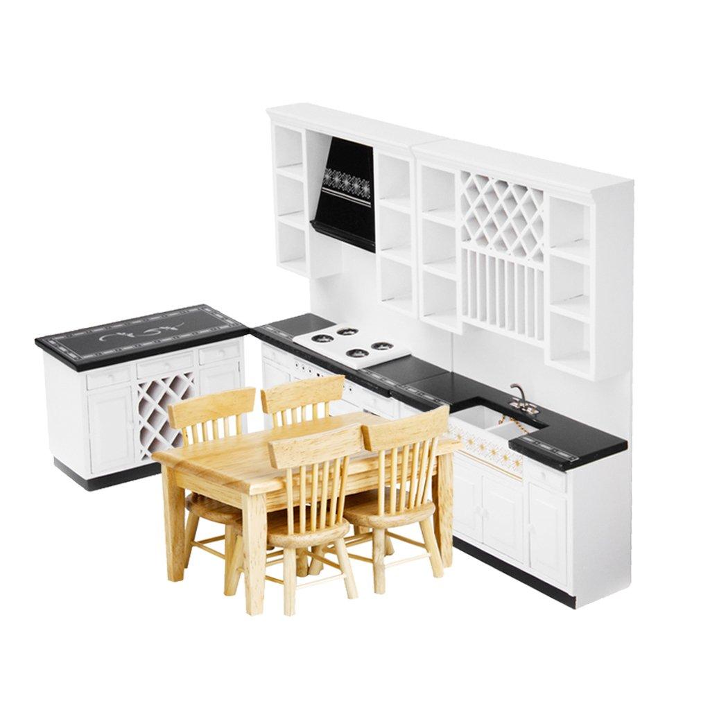MagiDeal Miniatur Holz Küchenmöbel, Esstisch, Stühle Set für 1/12 Puppenhaus Zubehör Deko